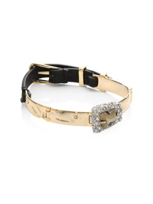 Alexis Bittar Leather & Pyrite Bracelet