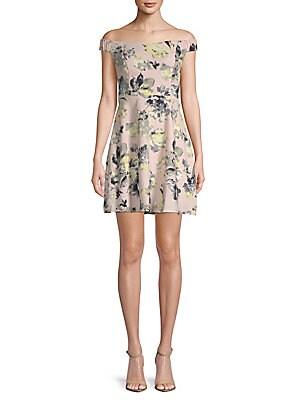 19 COOPER Floral Off-The-Shoulder Mini Dress in Peach