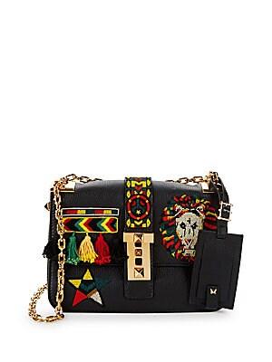 Embroidered Shoulder Flap Bag