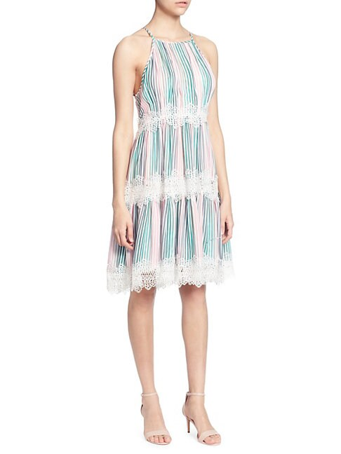 CATHERINE CATHERINE MALANDRINO | Sidonie Lace-Trimmed Knee-Length Dress | Goxip