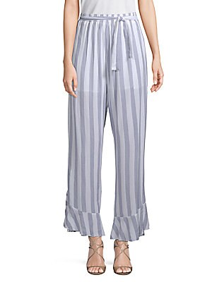 ALLISON NEW YORK Ruffled Striped Cotton Pants in White Blue