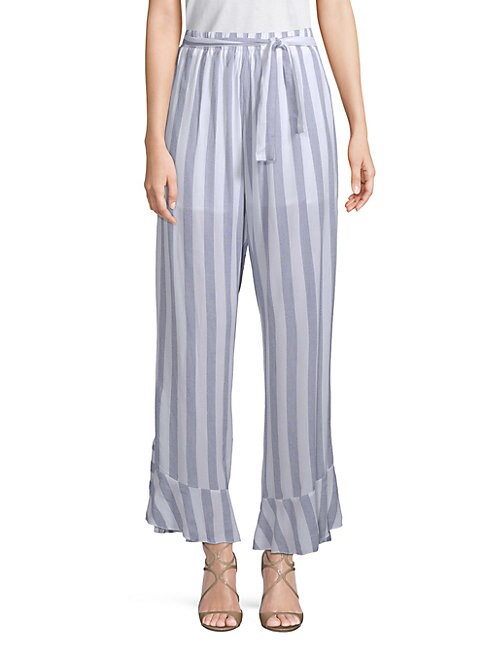 ALLISON NEW YORK | Ruffled Striped Cotton Pants | Goxip