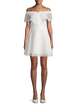 ALLISON NEW YORK Off-The-Shoulder Lace Dress in White