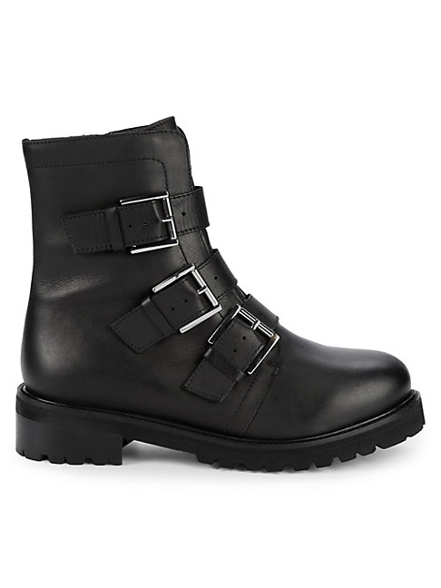 Obedience Leather Buckle Combat Boots