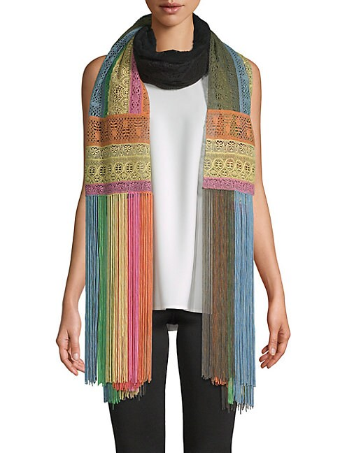 Multicolored Fringed Scarf