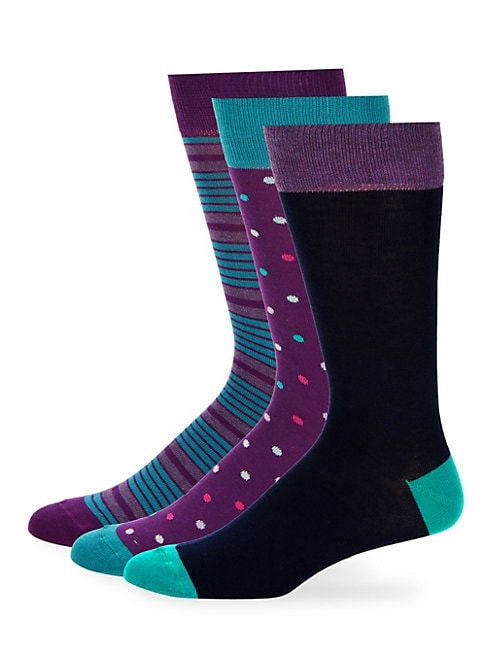 Three-Pack Fashion Assorted Crew Socks