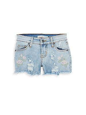 Girls Embroidered Denim Shorts