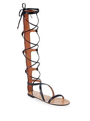 Crisscross Leather Gladiator Sandals