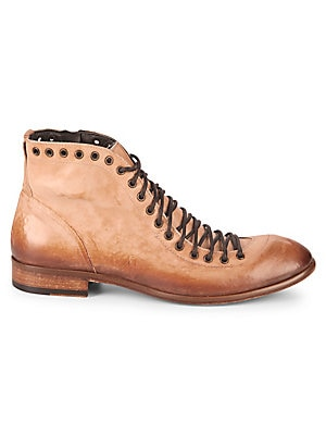 JO GHOST Eyelet Leather Ankle Boots in Tan Wash
