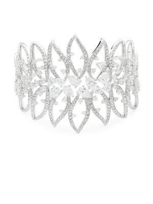 Calla Crystal Large Open Cuff Bracelet, Silver