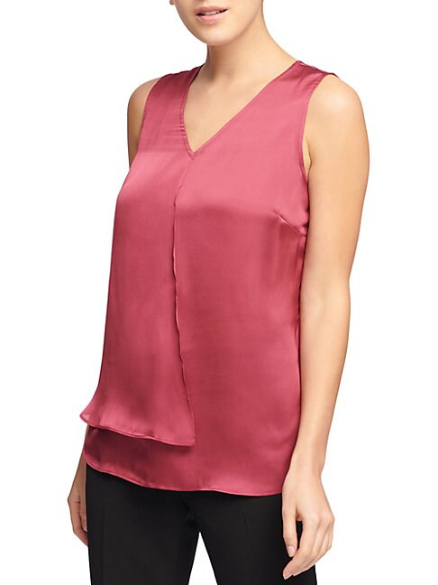 Sleeveless V-Neck Satin Top