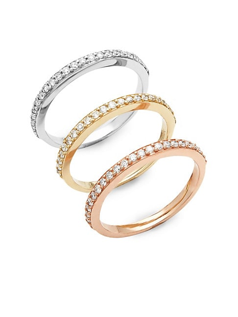 Three-Piece Diamond and 14K Gold Stackable Ring Set