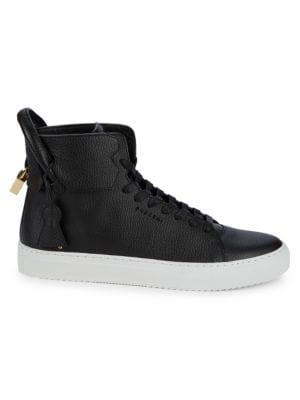 Buscemi Pebbled Leather High-Top Sneakers