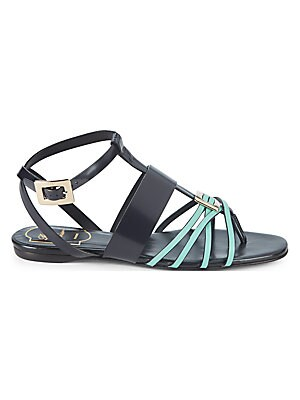 LEATHER STRAPPY FLAT SANDALS