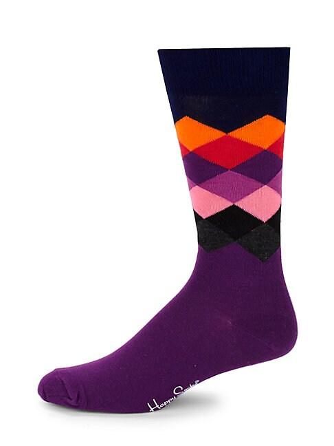 Faded Diamond-Print Crew Socks