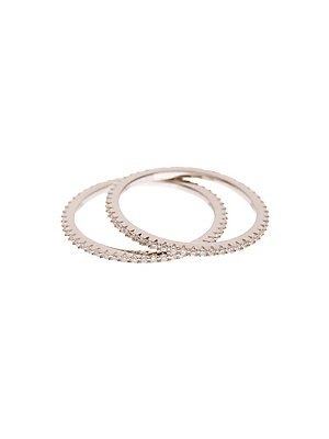 Pavé Crystal and Sterling Silver Stackable Rings