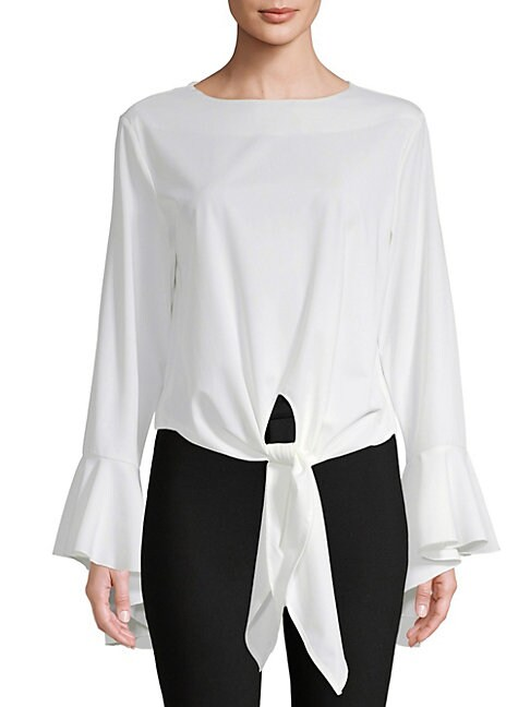 AVANTLOOK Tie-Up Bell-Sleeve Blouse in White
