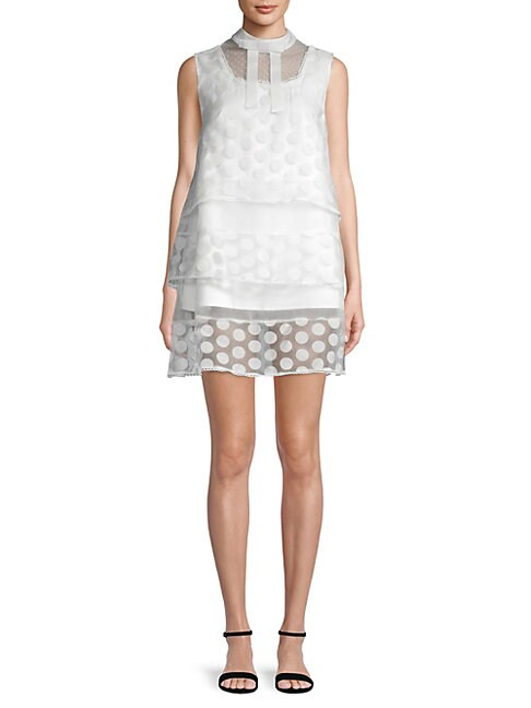 AVANTLOOK Polka Dot Layered Dress in White