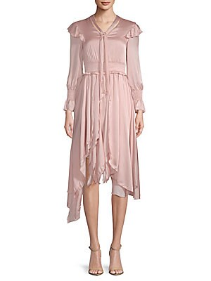 AVANTLOOK Ruffled Long-Sleeve Dress in Pink