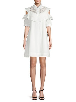 AVANTLOOK Cold-Shoulder Shift Dress in White