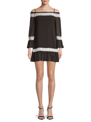 Avantlook Ruffled Cold-Shoulder Shift Dress