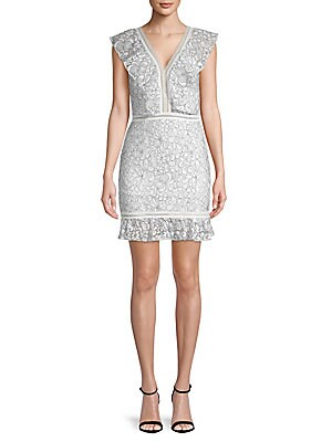 AVANTLOOK Lace Sleeveless Sheath Dress in White