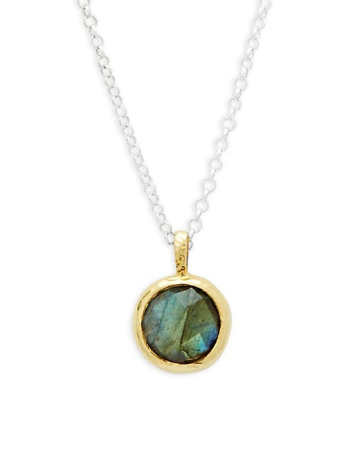 Gurhan TURQUOISE AND STERLING SILVER ROUND PENDANT NECKLACE