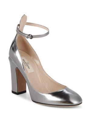 Tango Block Heel Leather Pumps in Silver
