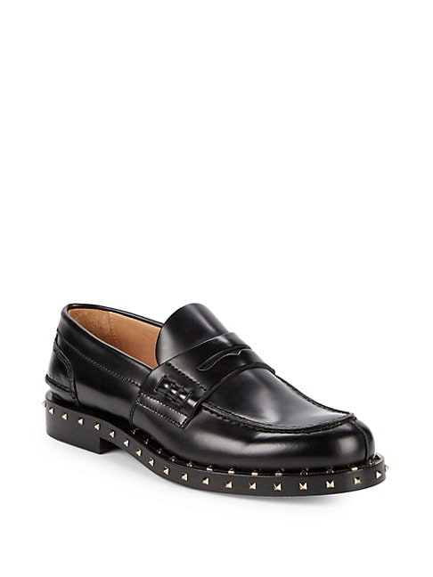 Embellished Leather Penny Loafers
