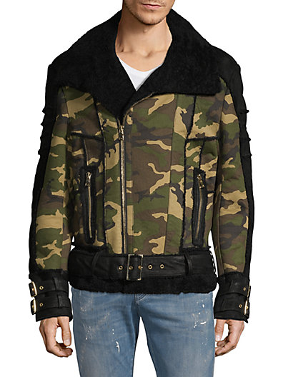 e448369d Balmain Contrast Shearling-Lined Cotton, Leather & Suede Jacket ...
