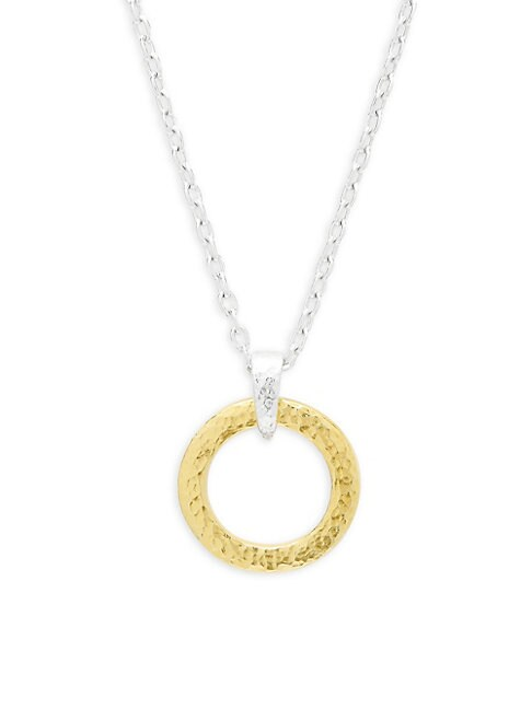Gurhan STERLING SILVER HAMMERED ROUND PENDANT NECKLACE