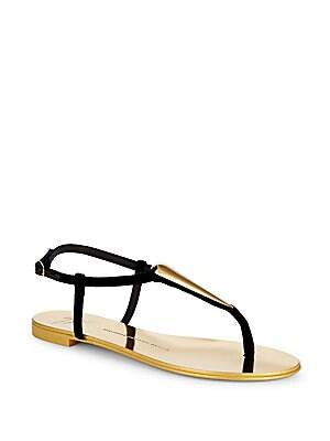 Nuvo Rock Teardop T-Strap Flat Sandals