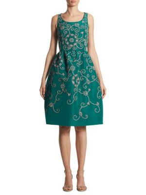 Embroidered Floral Scroll Full-Skirt Party Dress, Green in Green Pattern