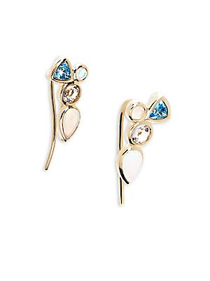 OPAL, PRASIOLITE, SWISS BLUE TOPAZ AND 14K YELLOW GOLD CLUSTER EARRINGS