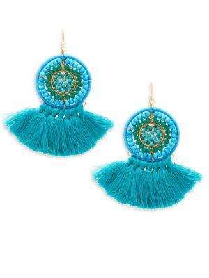 Panacea Beaded Fringe Drop Earrings