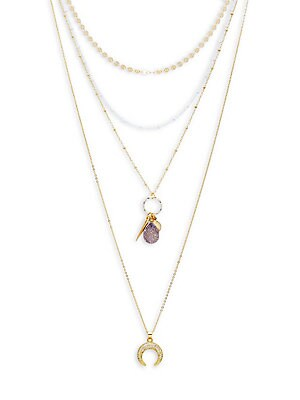 CRYSTAL LAYERED CHARM NECKLACE