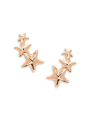 Saks Fifth Avenue 14k Rose Gold Triple Star Crawler Earrings