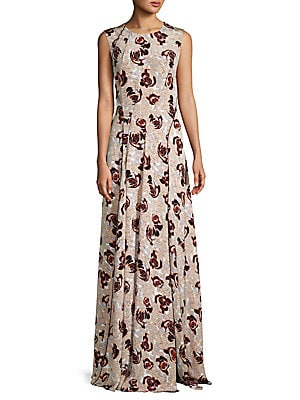 Sleeveless Floral Silk Dress