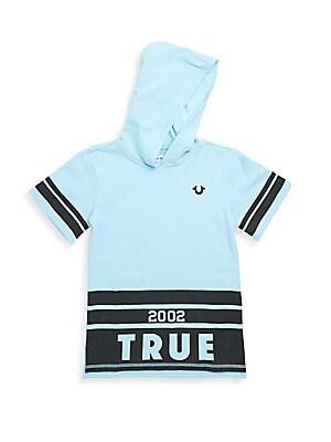 Boy's Striped Logo Cotton Hoodie