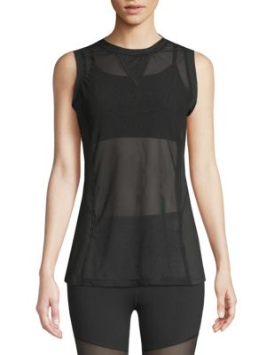 ELECTRIC YOGA Sleeveless Mesh Top in Black