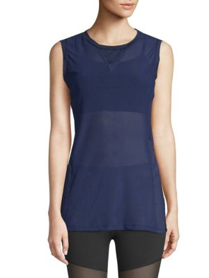 ELECTRIC YOGA Sleeveless Mesh Top in Blue