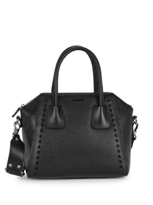 Valentino By Mario Valentino Leathers Minimi Pebbled-Leather Structure Satchel