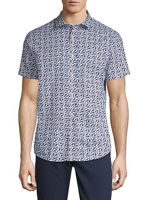 SLATE & STONE | Printed Cotton Button-Down Shirt | Goxip