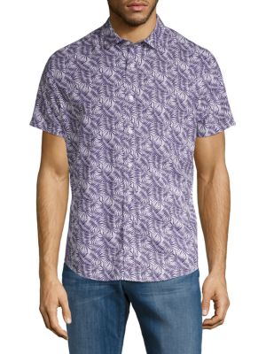 SLATE & STONE Leaf-Print Short-Sleeve Button-Down Shirt in Indigo Multi