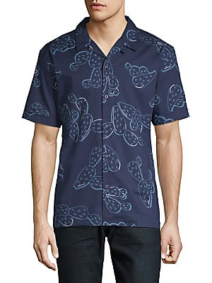ANTONY MORATO Men'S Prickly Pear Printed Button-Front Shirt in Light Blue
