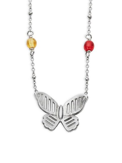 Butterfly & Gemstone Butterfly Pendant Necklace