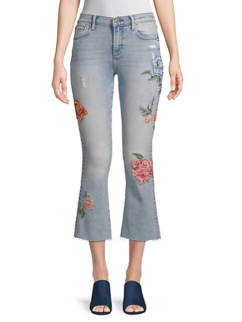 Roxy Rosey Embroidered Flared Jeans