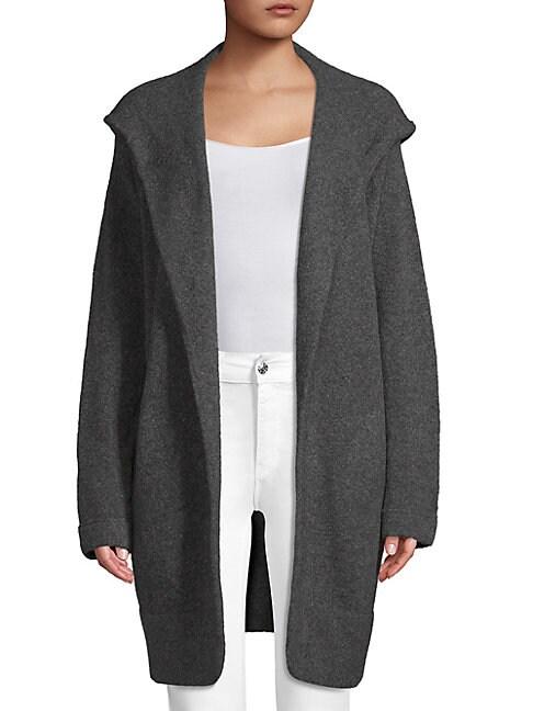 INHABIT Hooded Open-Front Coat in Grey
