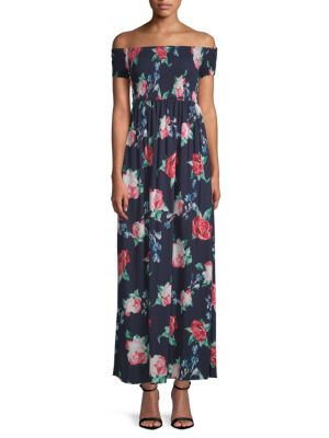CIRANA Off-The-Shoulder Maxi Dress in Navy