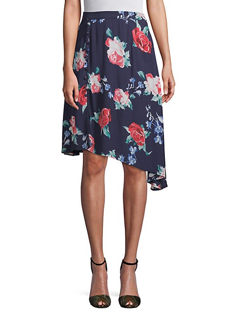 CIRANA Asymmetrical Rose-Print Skirt in Navy